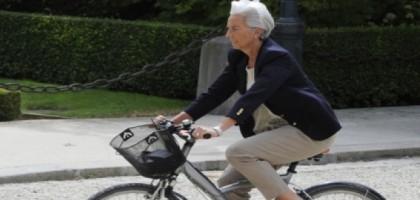 Christine Lagarde à vélo