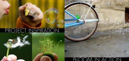 Un pot d'échappement pour vélo qui diffuse des graines dans des bulles de savon