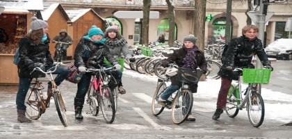 Le vélo sous la neige à Strasbourg