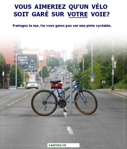 Vous aimeriez qu'un vélo soit garé sur votre voie?
