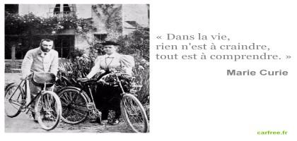 Pierre et Marie Curie font du vélo