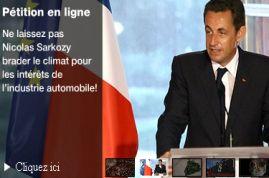 Ne laissons pas Nicolas Sarkozy brader le climat pour les intérêts de l'industrie automobile!